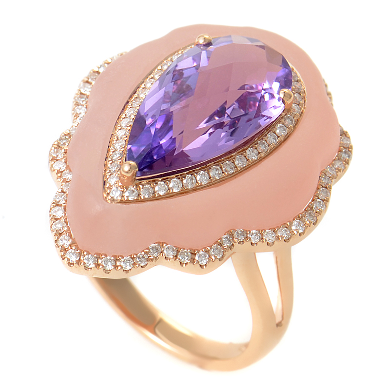 18K Rose Gold Amethyst, Pink Quartz & Diamond Ring KO69451RMRZ