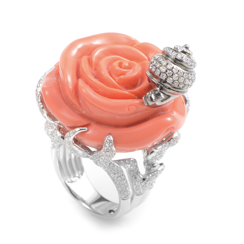 18K White Gold Coral & Diamond Rose Ring KO72701RBZ