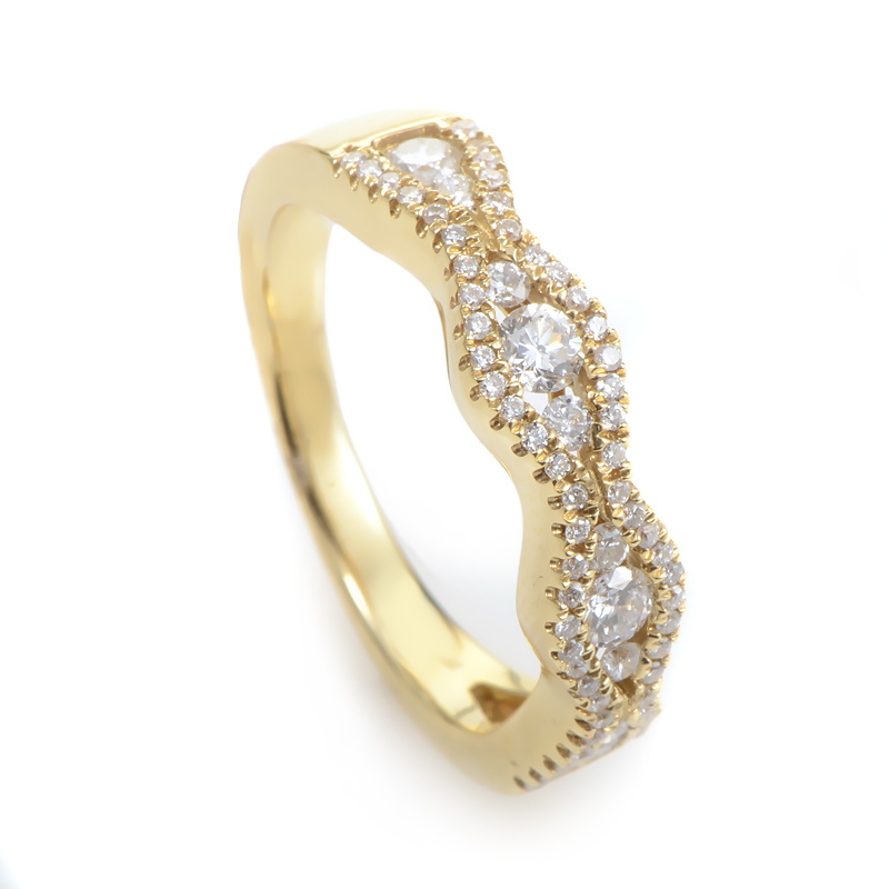 18K Yellow Gold Diamond Wedding Band KO73961RFZZ