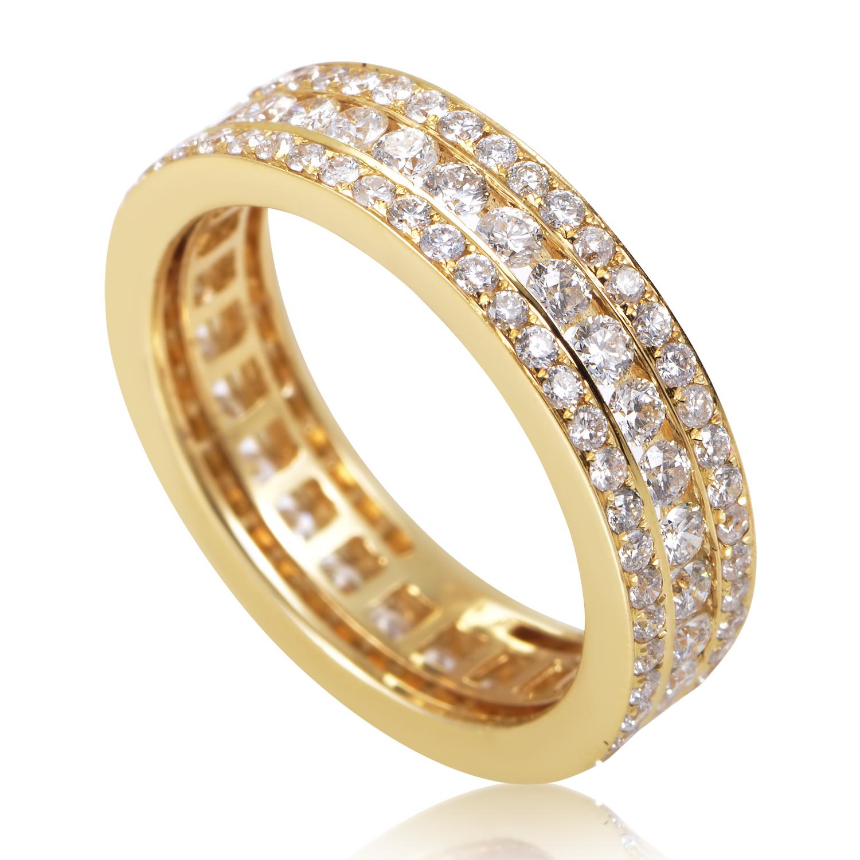 Women's 18K Yellow Gold Diamond Pave Eternity Band Ring KO7666RTZZ