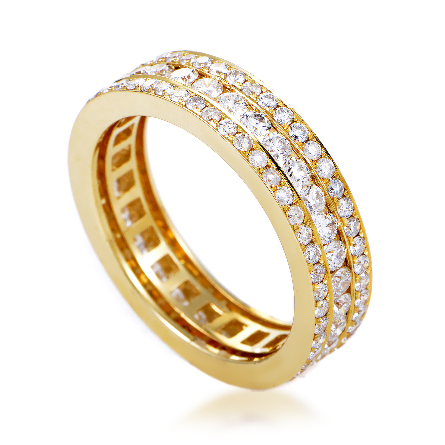 Women's 18K Yellow Gold Diamond Pave Eternity Band Ring KO7666RTZZ