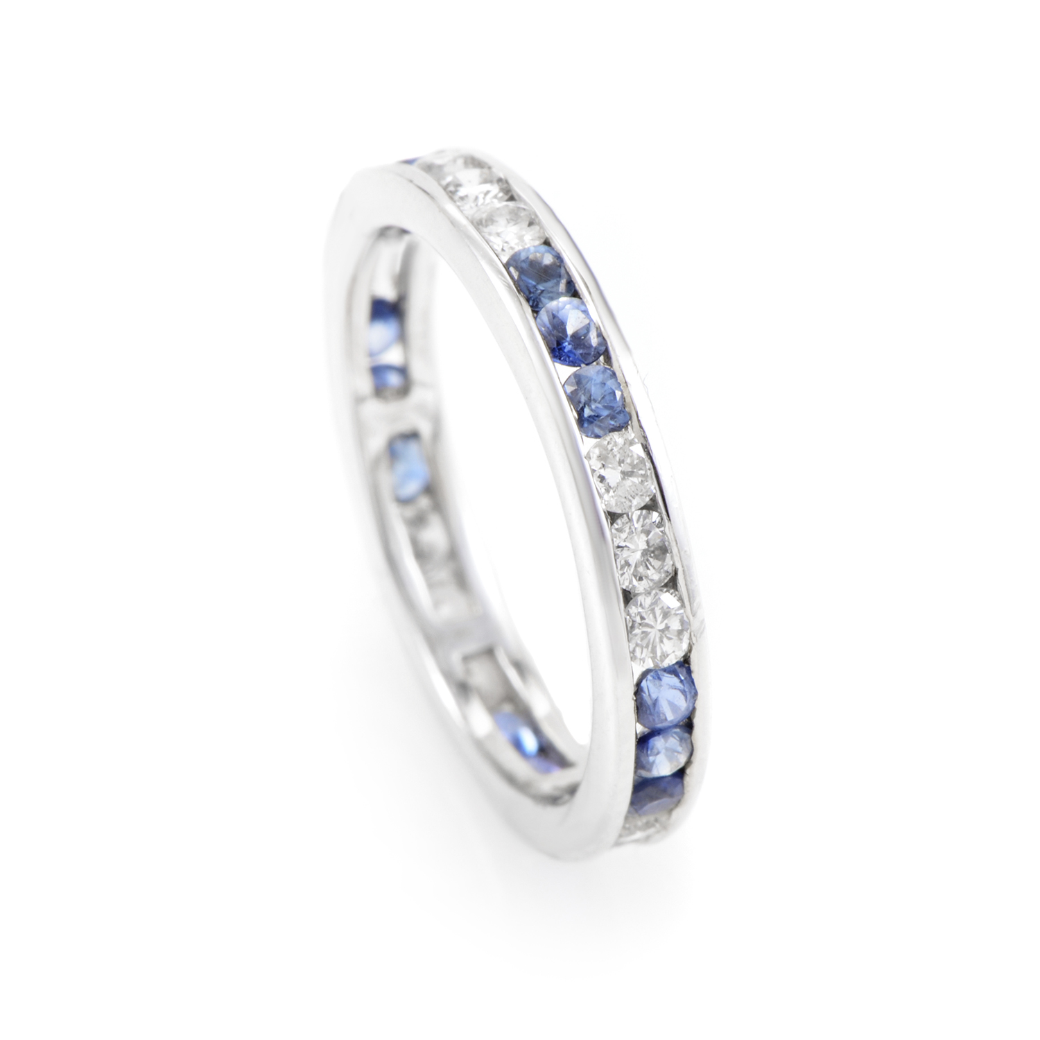 18K White Gold Diamond & Sapphire Eternity Band KO7705RBZ