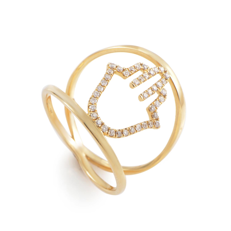 18K Yellow Gold Diamond Hamsa Ring KO79381RJZZ