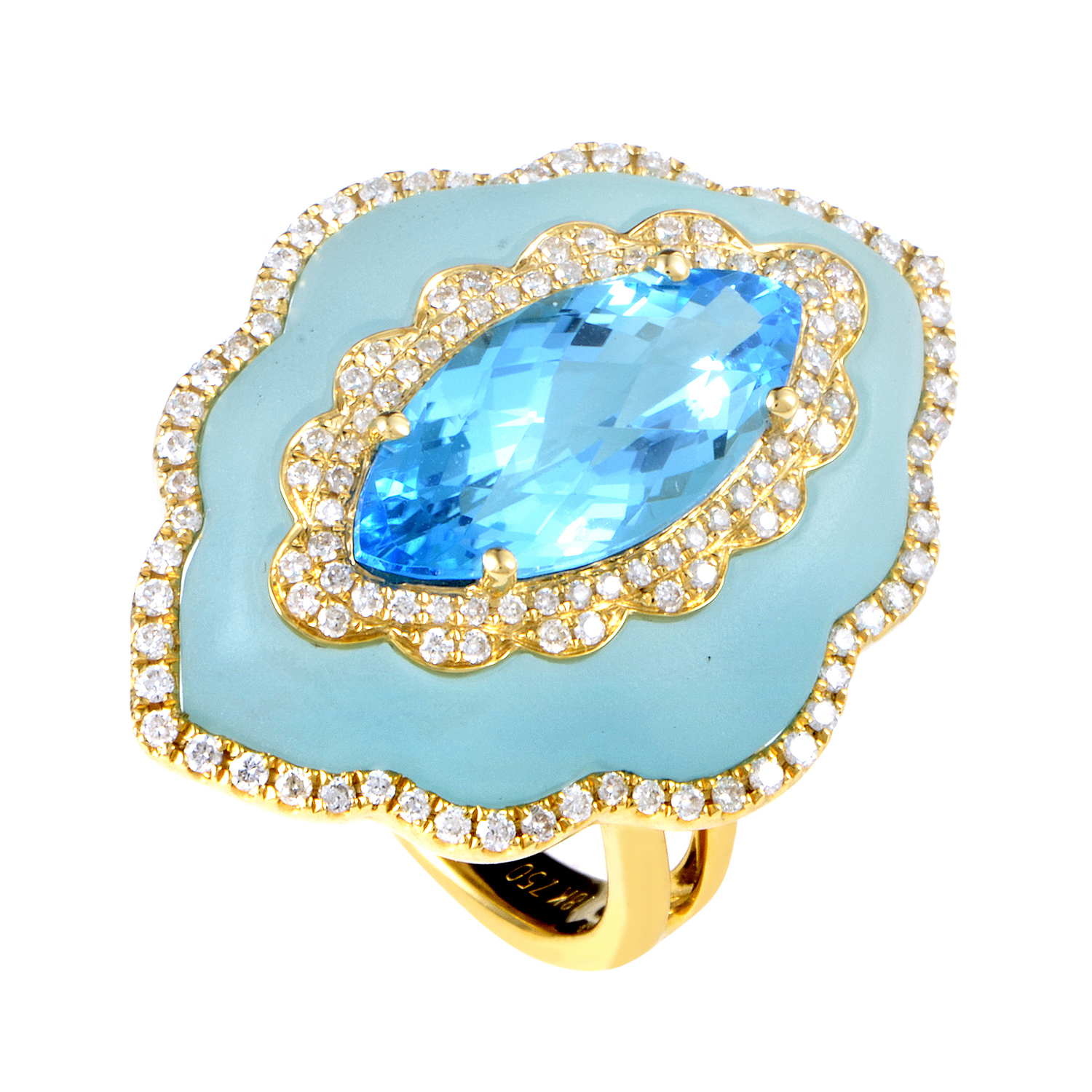 Women's 18K Yellow Gold Diamond & Blue Gemstone Ring KO79451RMZZTO