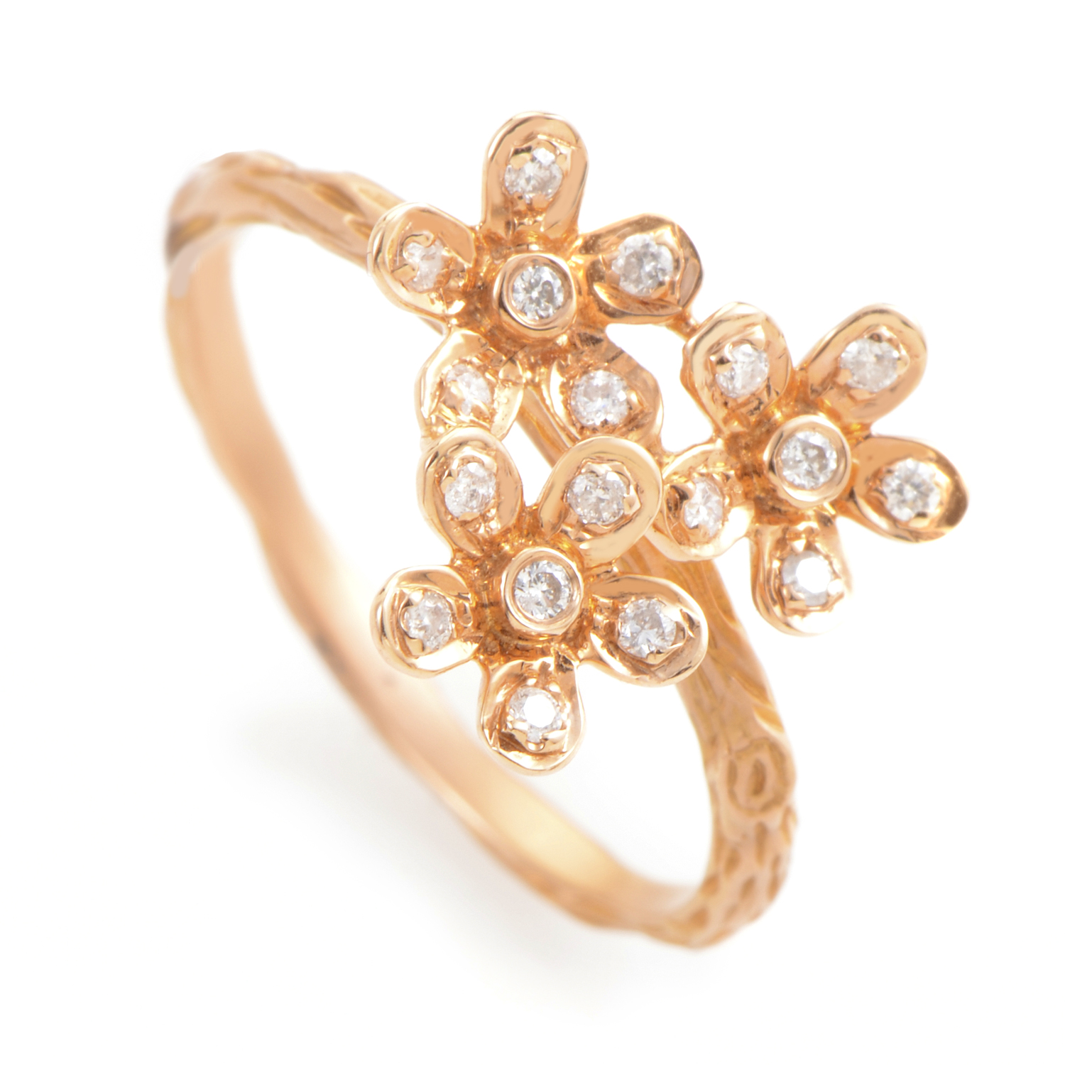 18K Rose Gold Diamond Flower Ring KO80251RRZ