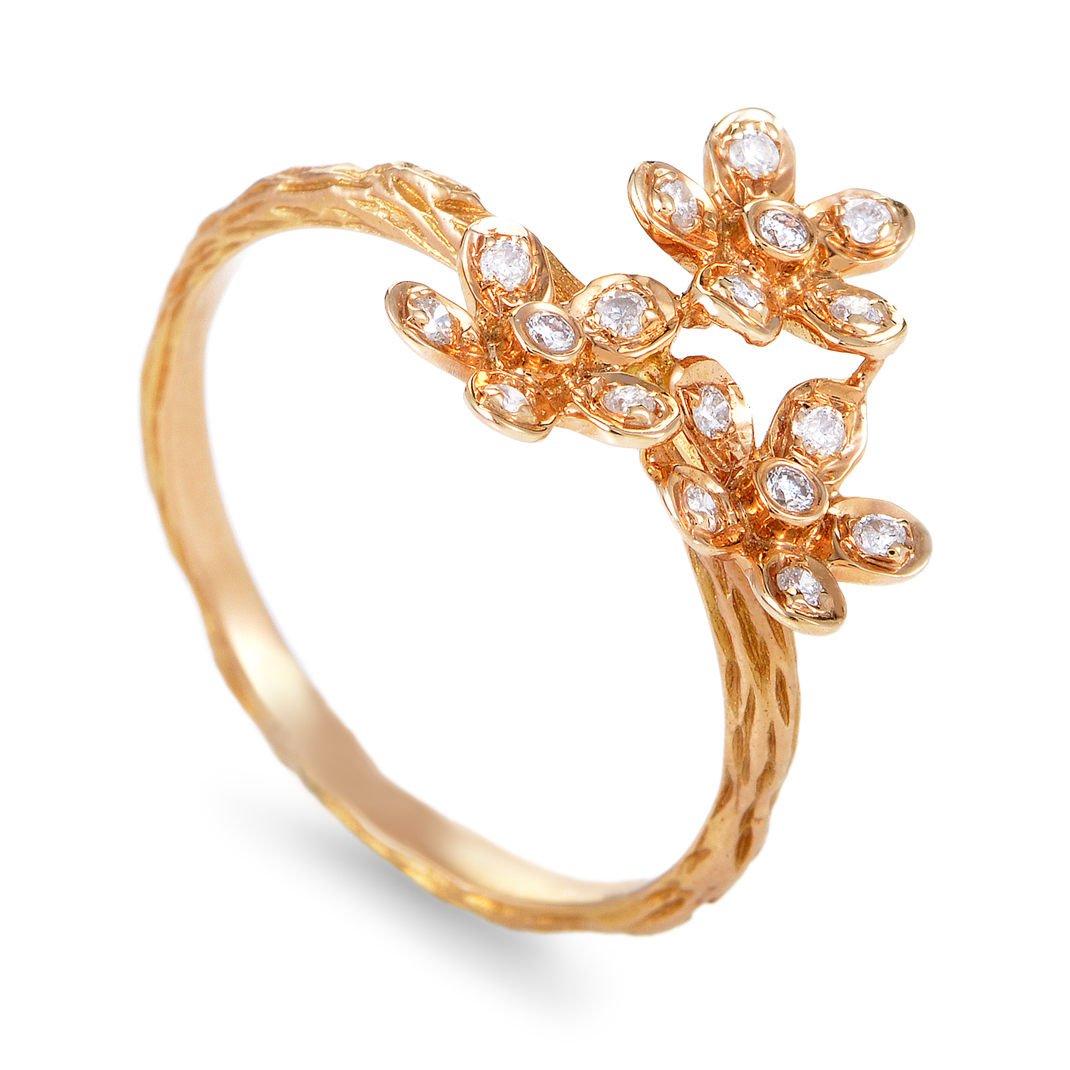 Women's 18K Rose Gold Diamond Flowers Ring KO80251RRZ