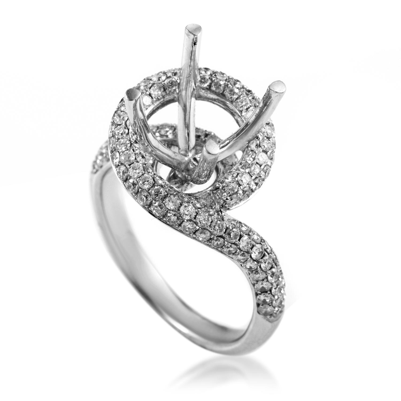 Swirled 18K White Gold Diamond Engagement Ring Mounting KO84641RBZ