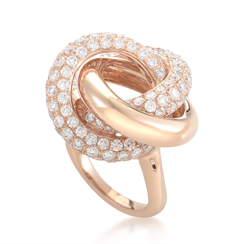 18K Rose Gold Knotted Diamond Ring KO8612RRZ