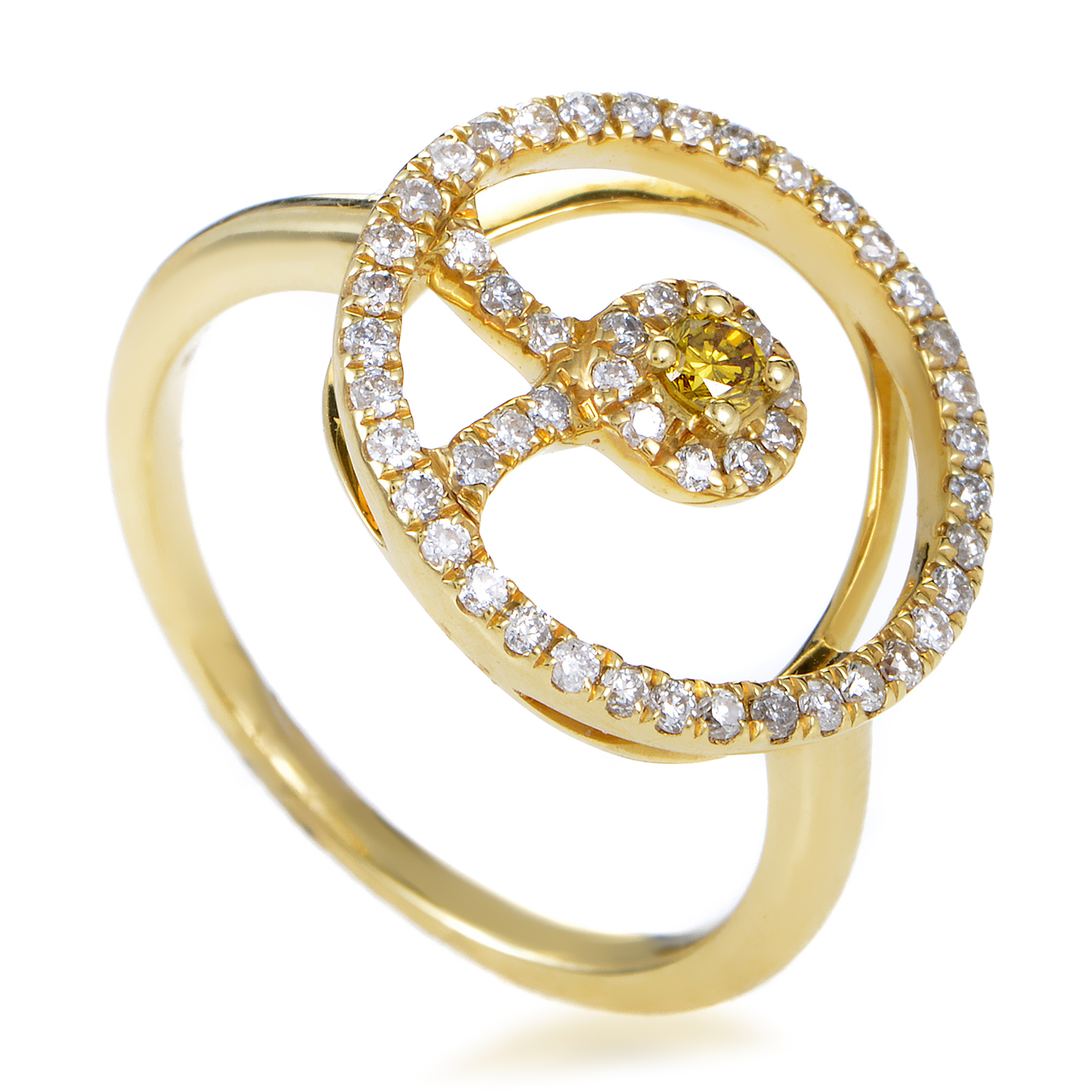 Women's 18K Yellow Gold White & Yellow Diamond Ring KO08951RZZ