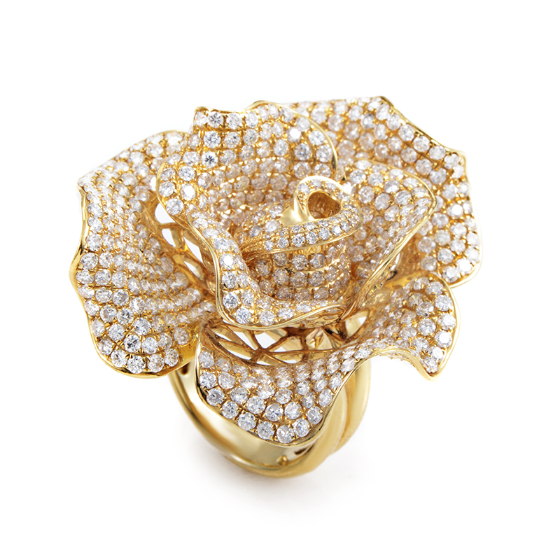 Womens 18K Yellow Gold Diamond Pave Blooming Rose Ring