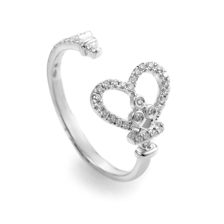 18K White Gold & Diamond Open Heart Ring KO96881RJBZ