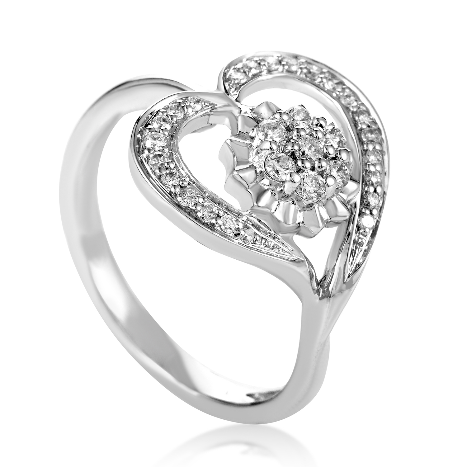 Women's 18K White Gold & Diamond Floral Heart Ring KOA17983RBZ