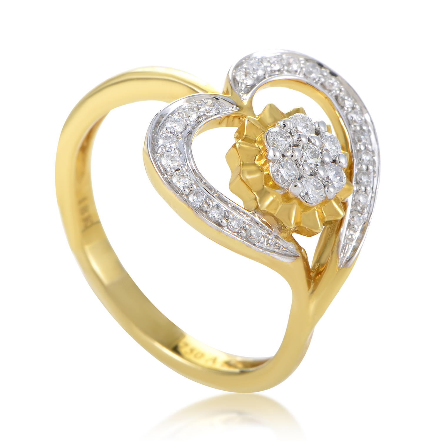 Women's 18K Yellow Gold & Diamond Flower Heart Ring KOA17983RZZ