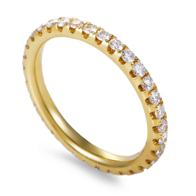 Women's 18K Yellow Gold Diamond Pave Eternity Band Ring KOA32241REZZ