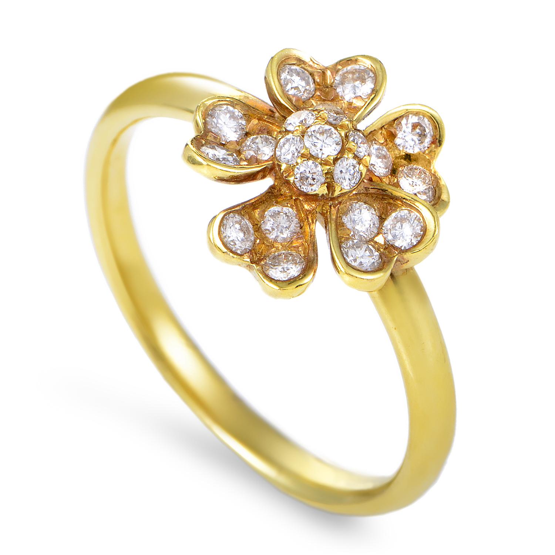 Women's 18K Yellow Gold Diamond Flower Ring KOD1562RUZZ