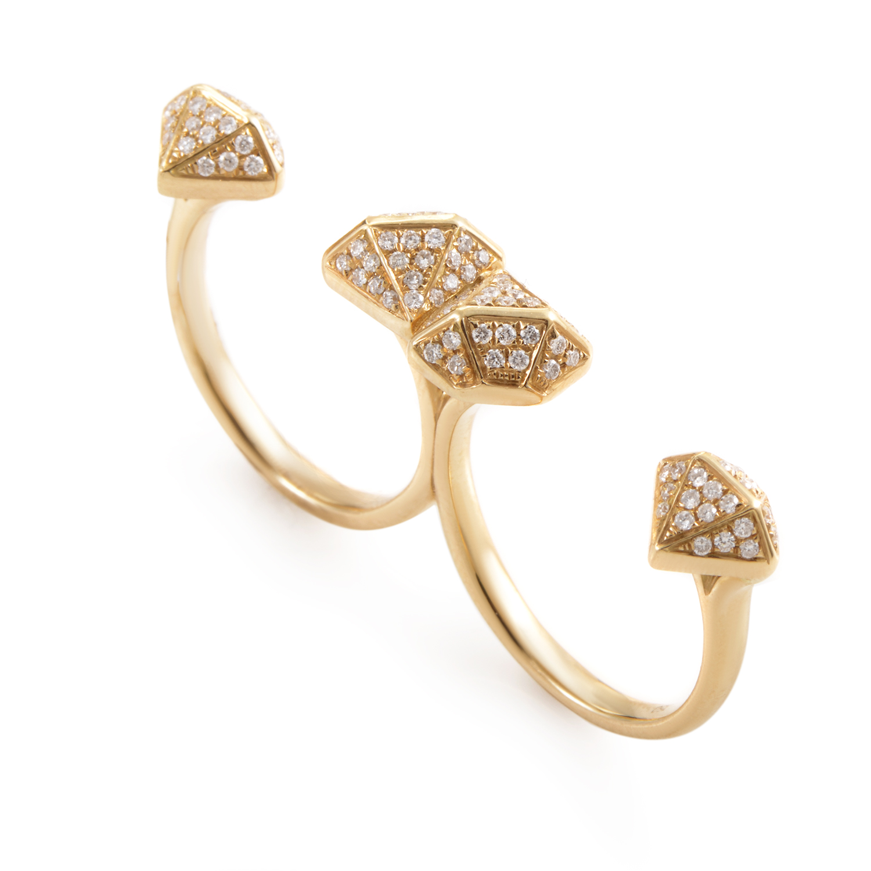 18K Yellow Gold Diamond 2-Finger Ring KOD3624RUZZ