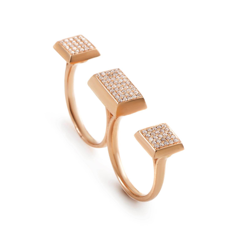 18K Rose Gold Diamond Pave 2-Finger Ring KOD6524RURZ