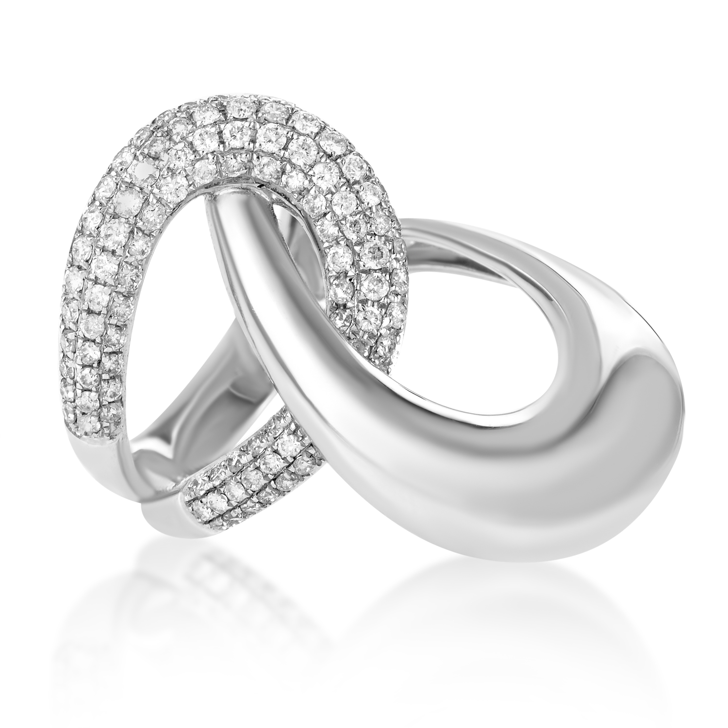 Women's 18K White Gold Knotted Partial Diamond Pave Ring KOD919REBZ