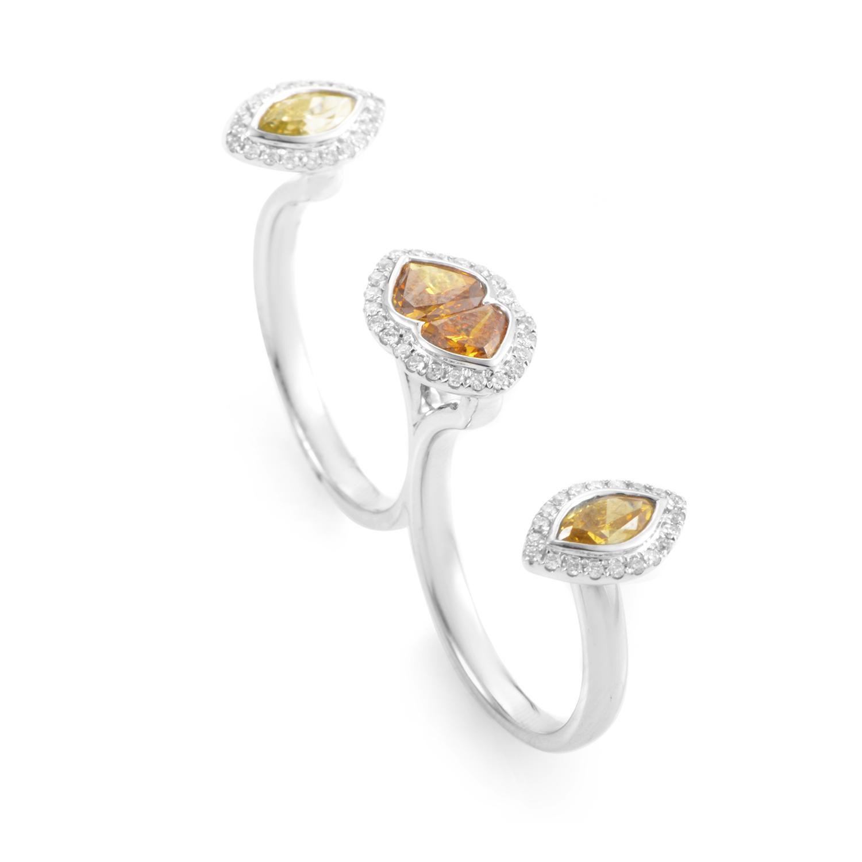 18K White Gold Multi-Diamond Two-Finger Ring KODF4454RUBZ