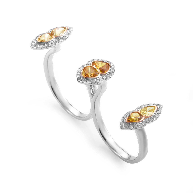 18K White Gold Multi-Diamond Two-Finger Ring KODF8254RUZZ