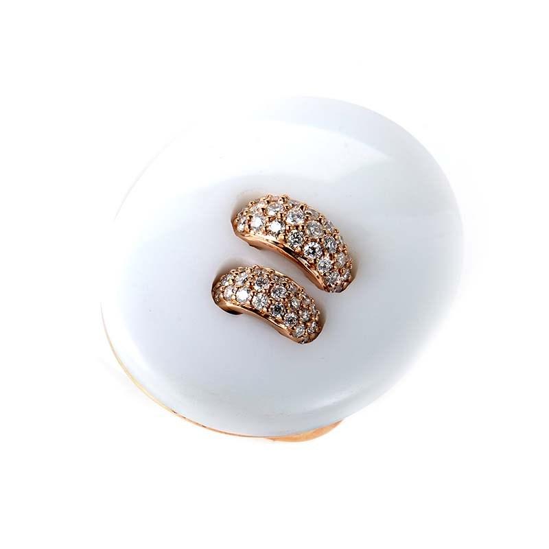 18K Rose Gold White Onyx & Diamond Button Ring