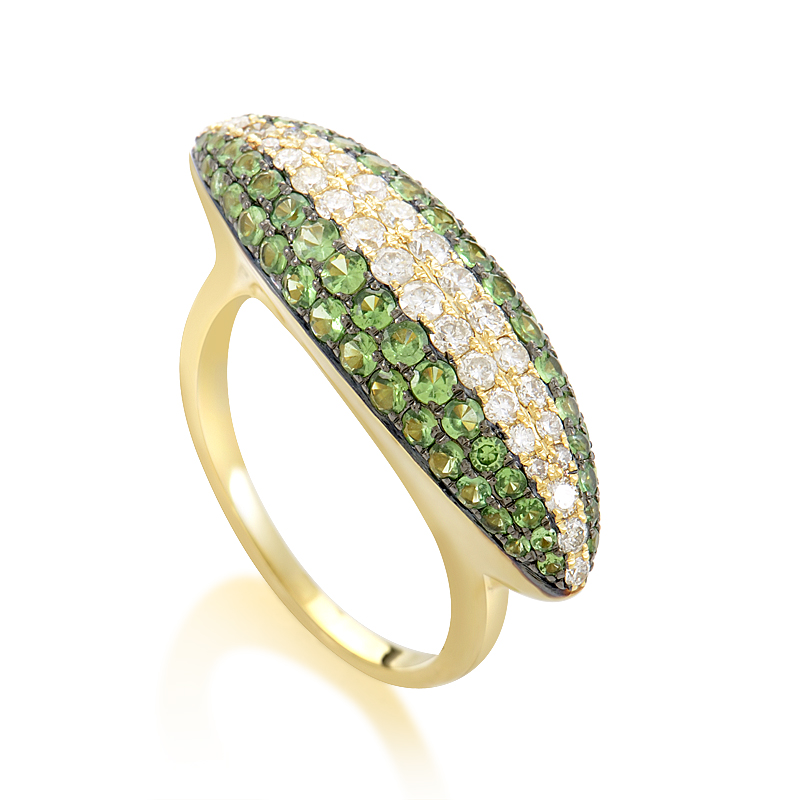 18K Yellow Gold Tsavorite & Diamond Ring KOGF885REZZTV