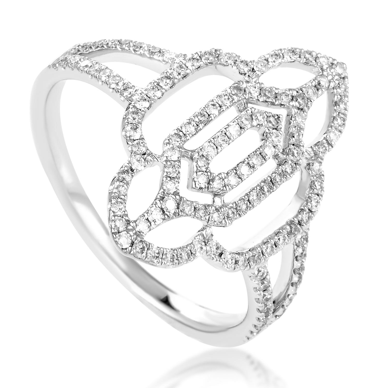 Women's Openwork 18K White Gold Diamond Ring KOGR703ABBZ