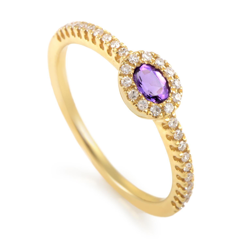 Women's 18K Yellow Gold Diamond & Amethyst Ring KOMA59781ZZAM
