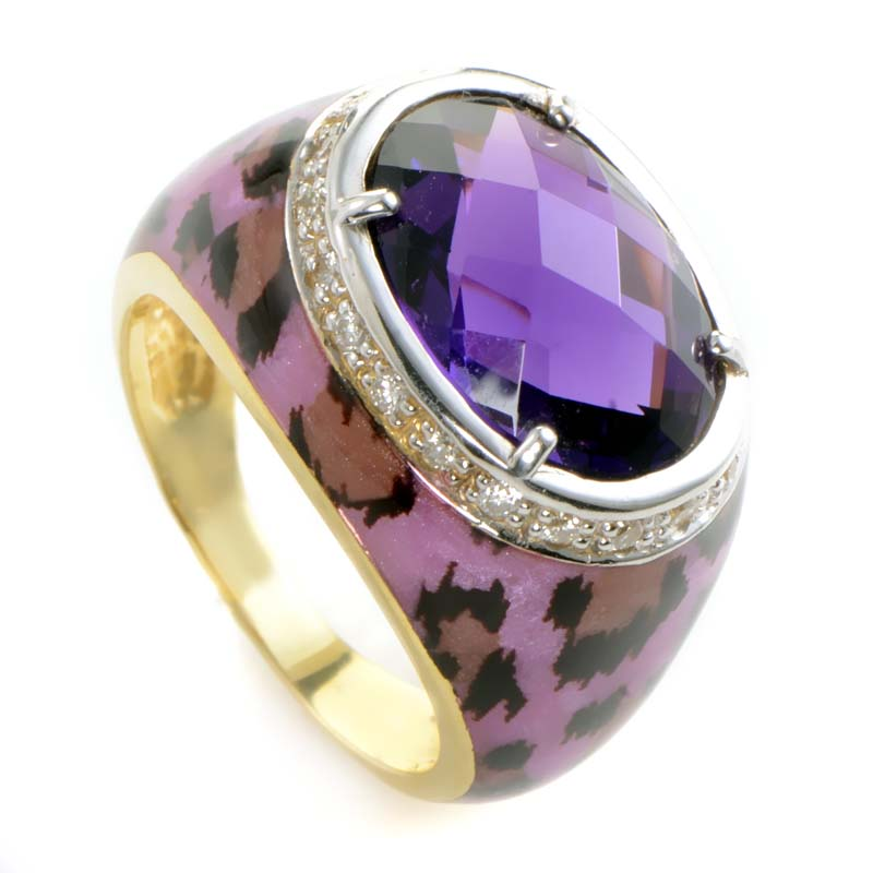 18K Yellow Gold Amethyst & Diamond Cocktail Ring KOMA6349UKZZAM