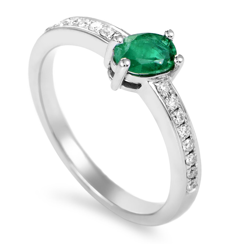 Women's 18K White Gold Diamond & Emerald Ring KOME20651RBZEM