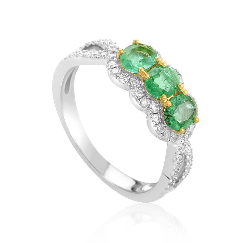 18K Multi-Gold Diamond & Emerald Ring KOME45281RBZEM