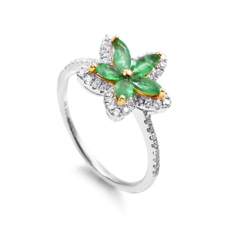 18K Multi-Tone Gold Emerald & Diamond Flower Ring