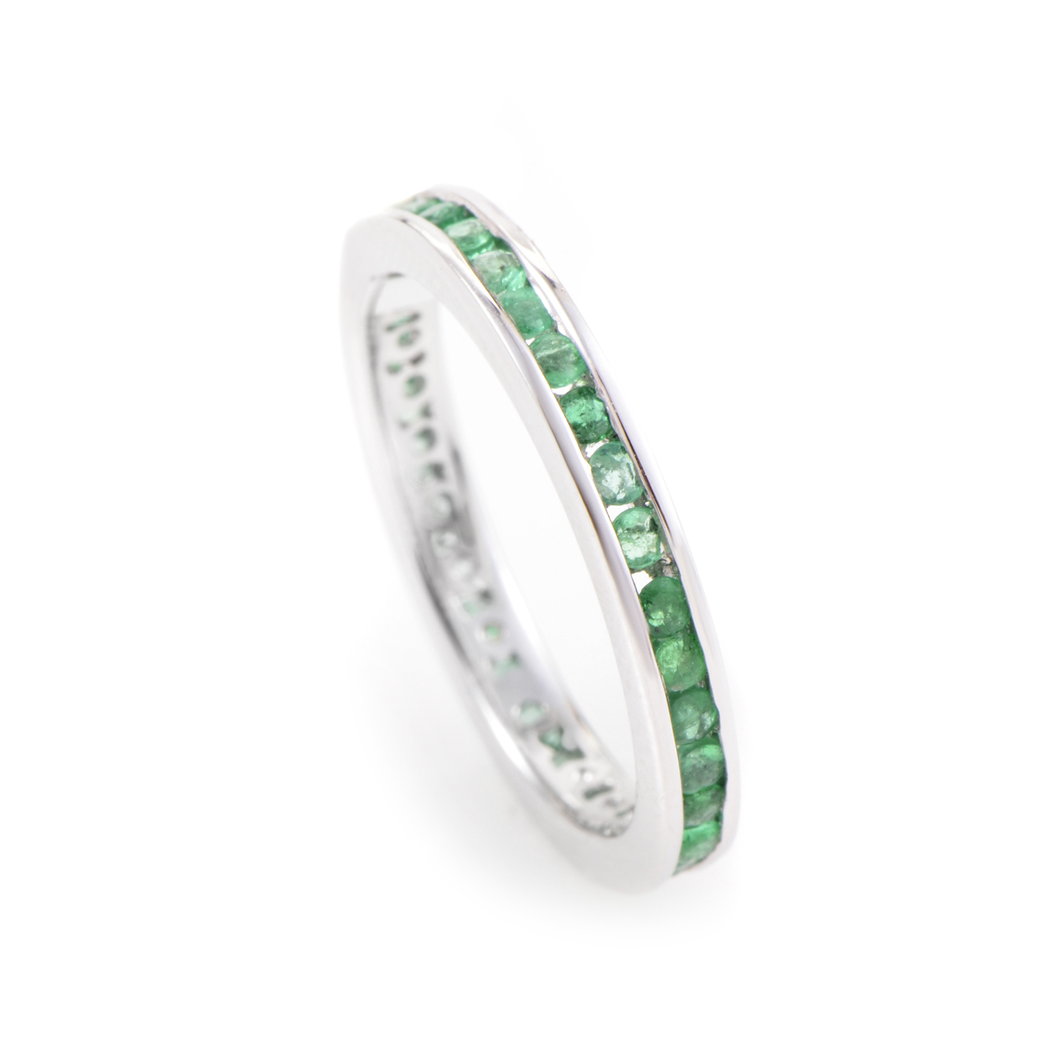 18K White Gold Emerald Eternity Band KOME7149RBZ