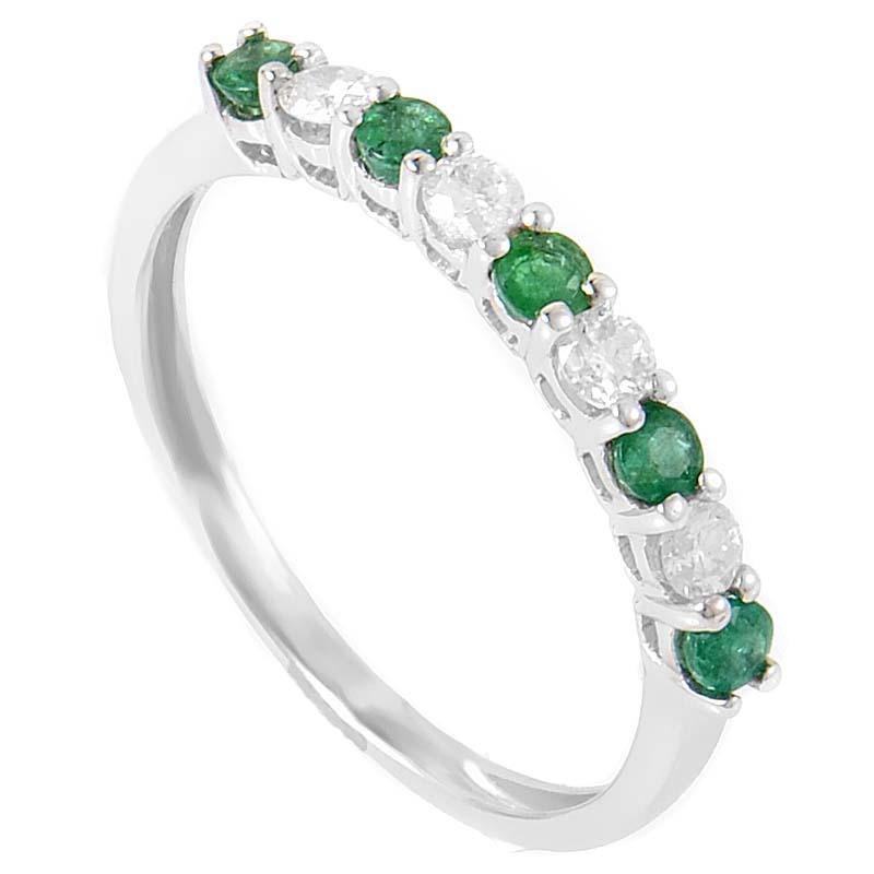 18K White Gold Diamond & Emerald Thin Band Ring KOME801RSBZ