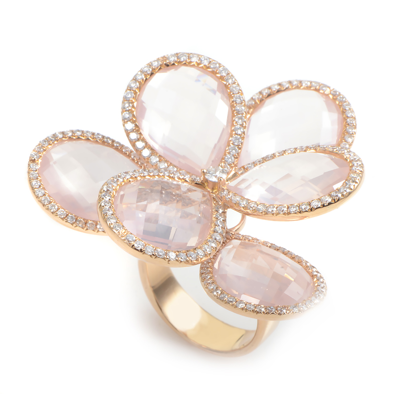 18K Rose Gold Pink Quartz Diamond Flower Ring KOQR09231RRZ