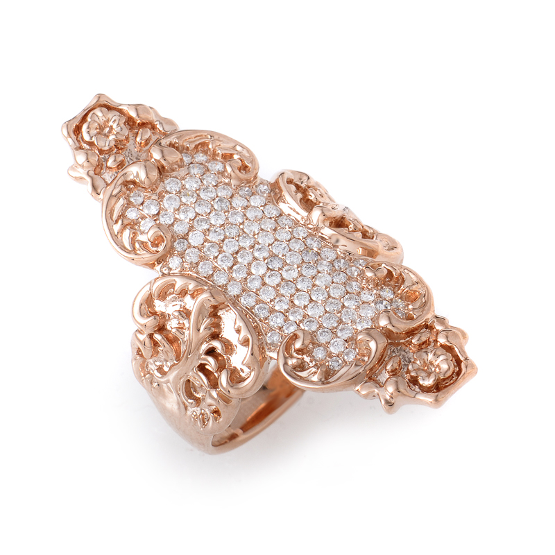 18K Rose Gold Diamond Pave Shield Ring KOR003DRZ