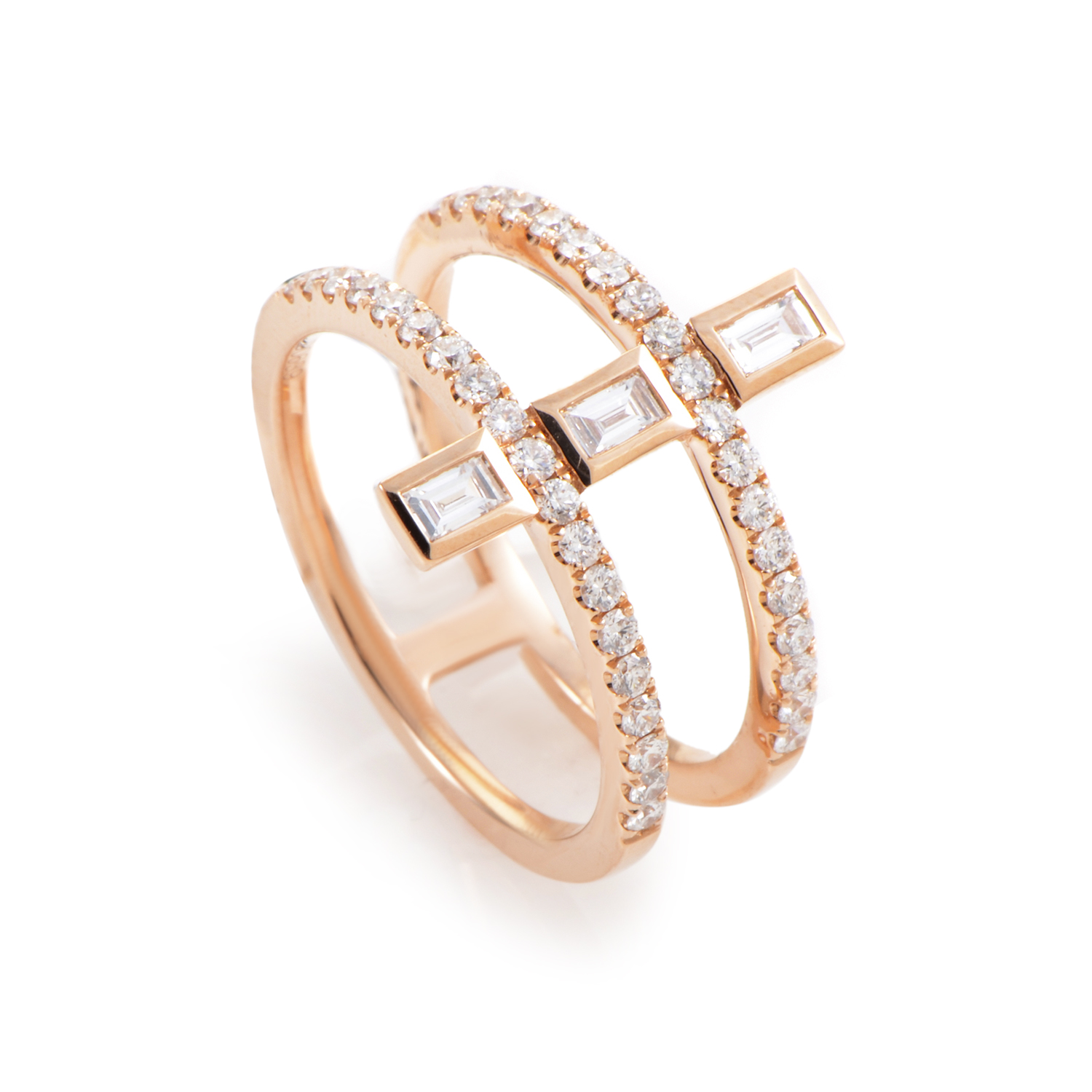 18K Rose Gold Diamond Double Band Ring KOR0485RDRZ