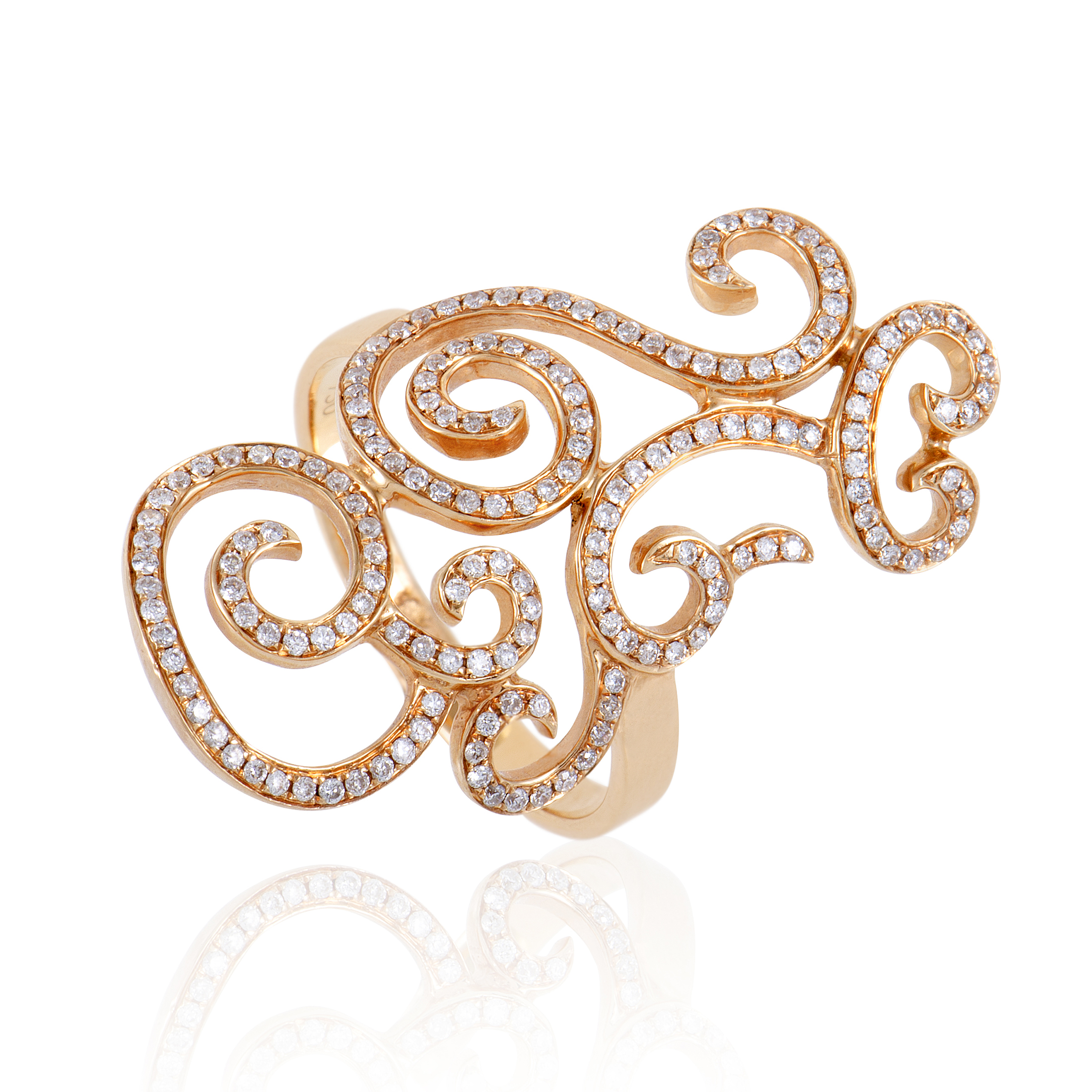 Womens 18K Rose Gold Diamond Pave Swirls Ring
