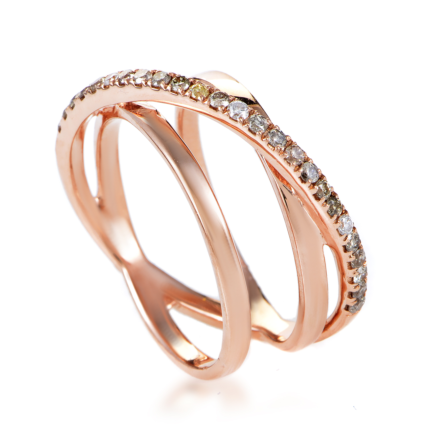 Women's 18K Rose Gold White & Brown Diamond Crossover Band Ring