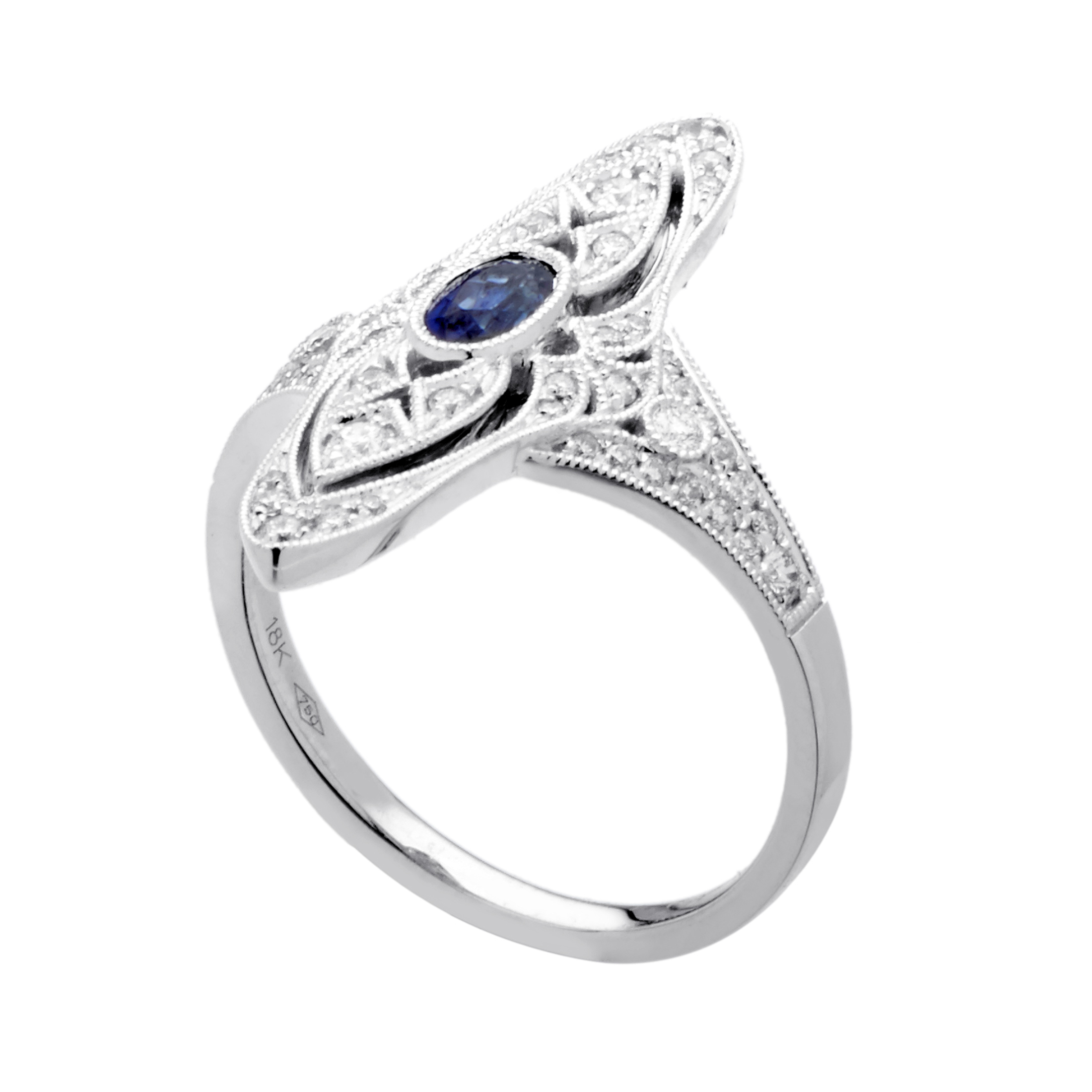 womens 18k white gold diamond and sapphire ring. Black Bedroom Furniture Sets. Home Design Ideas