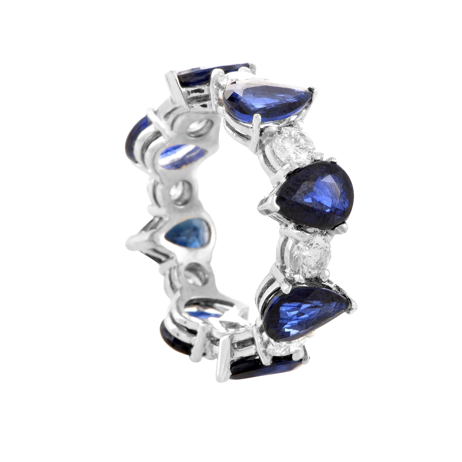 18K White Gold Sapphire & Diamond Eternity Band KOSB65ABBZ