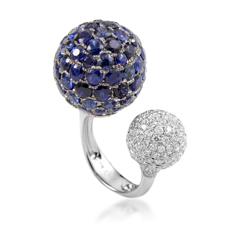 Women's 18K White Gold Diamond & Sapphire Spheres Ring KOSB861RKLBZSA