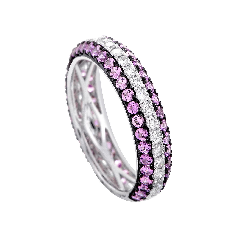 18K White Gold Pink Sapphire & Diamond Ring KOSP573RBEBZ