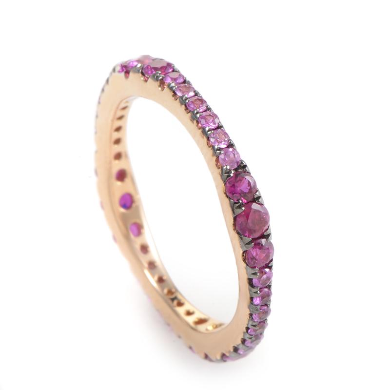 18K Rose Gold Pink Sapphire Band Ring KOSP80351RRZSA
