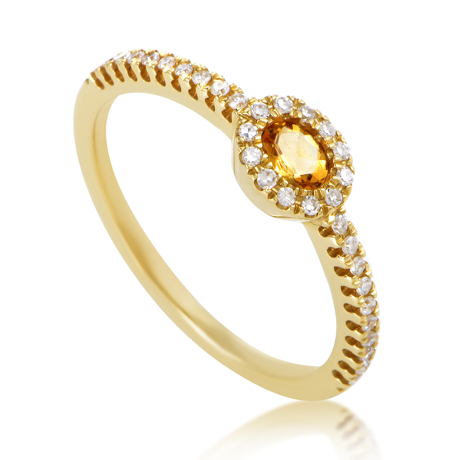 Women's 18K Yellow Gold Diamond & Citrine Ring KOTC59781ZZCIT