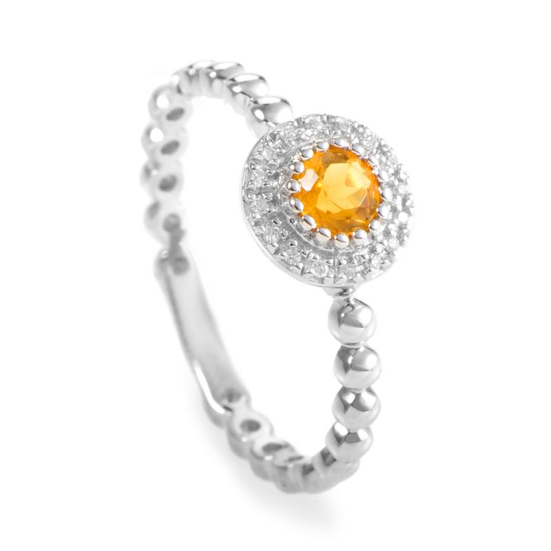 18K White Gold Citrine & Diamond Ring KOTC88382GRBZ