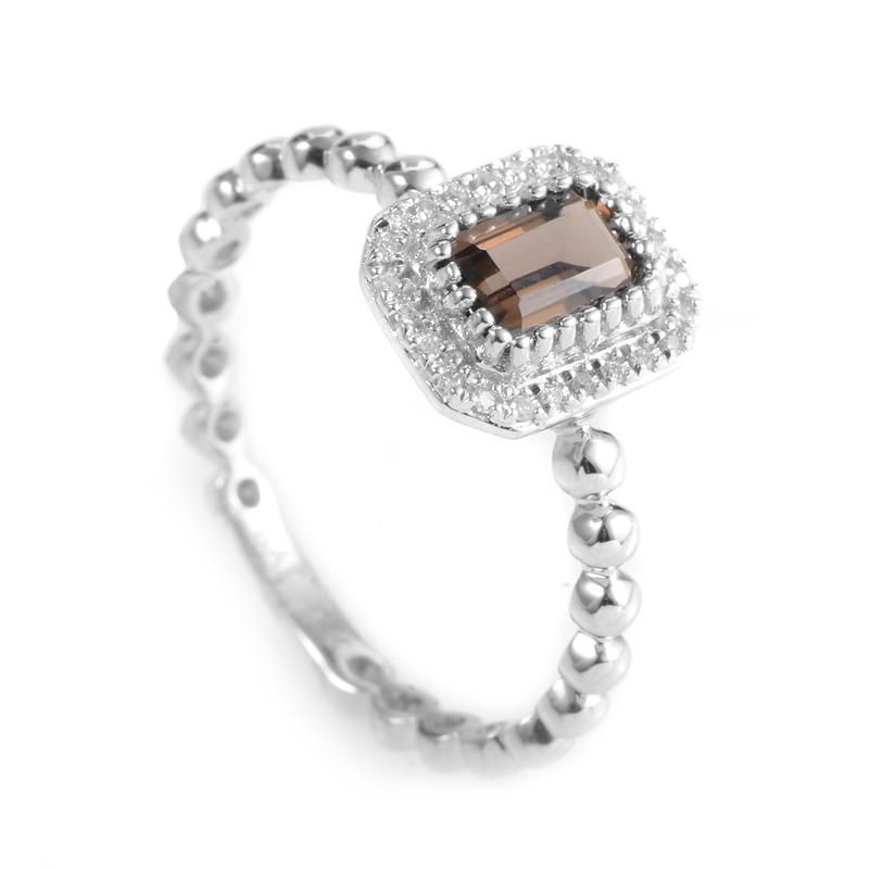 18K White Gold Smoky Topaz & Diamond Ring KOTS88382GRBZ
