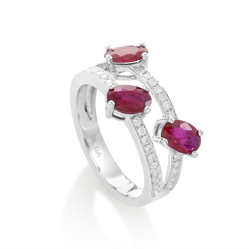 18K White Gold Diamond Ruby Ring KOUR10651RBZRU