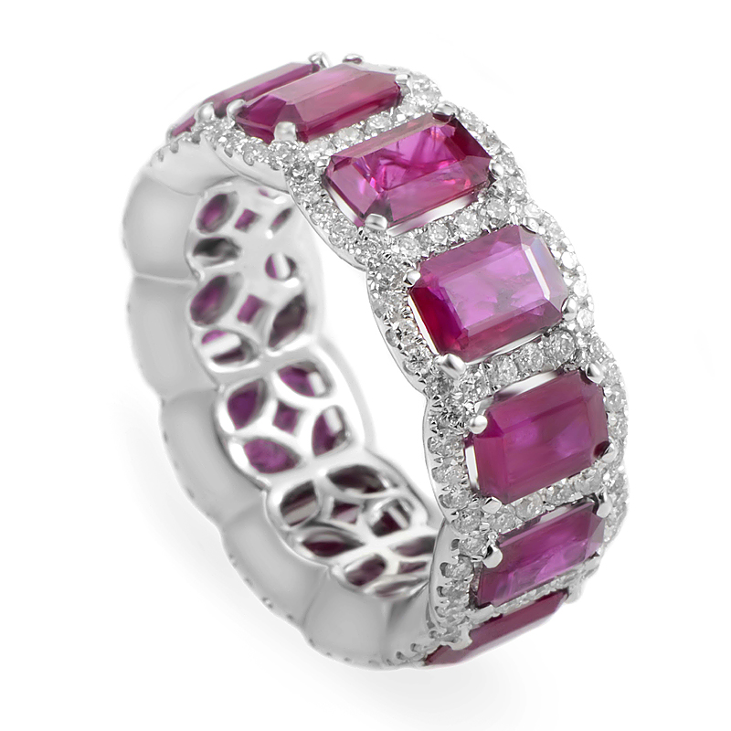 18K White Gold Ruby & Diamond Eternity Band Ring KOUR1917RTBZRU