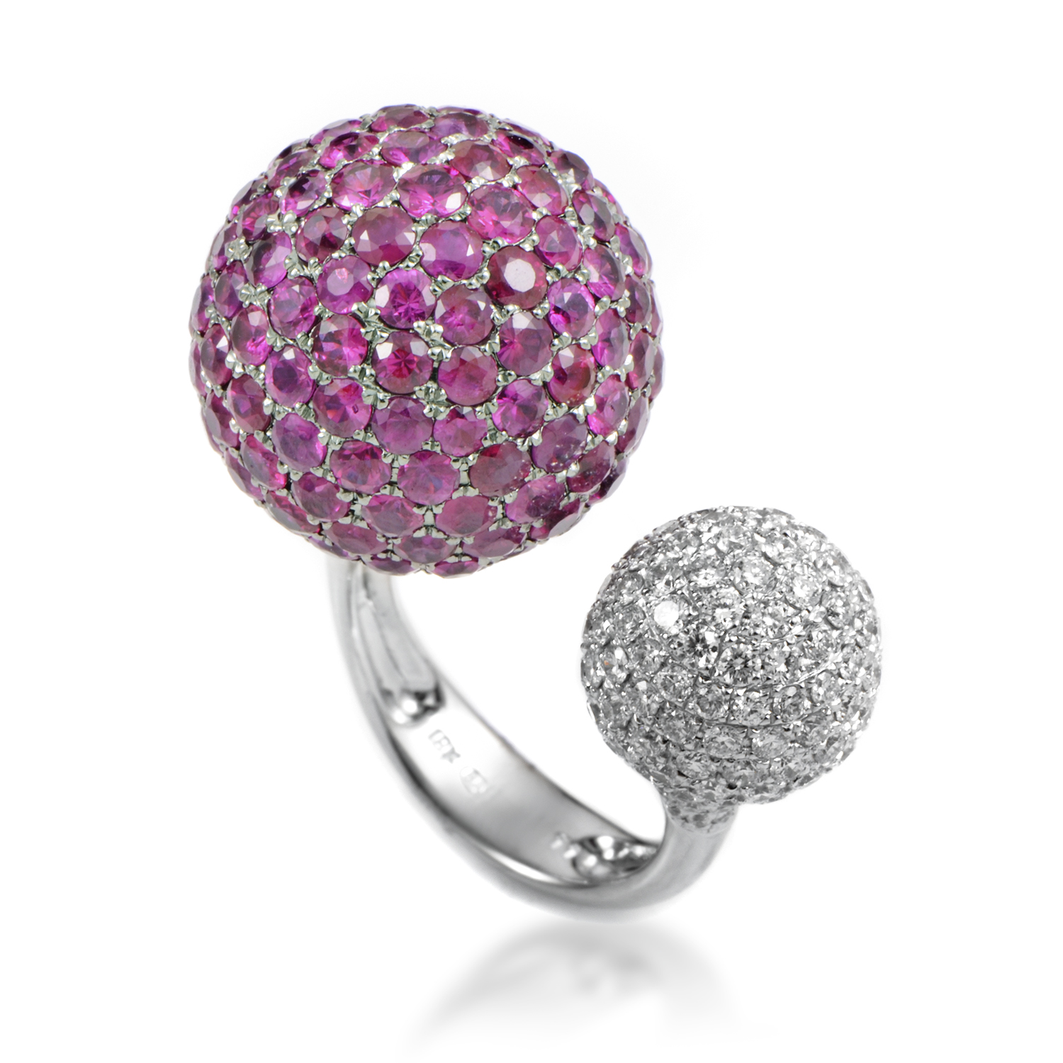 Women's 18K White Gold Diamond & Ruby Spheres Ring KOUR861RKLBZRU